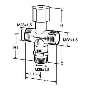 Tour & Andersson Термостатический смесительный клапан TA-MIX, M28*1,5, без компресс. фитингов, 35-65 С, PN10, AMETAL, 52730001
