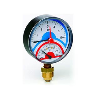 Термоманометр радиальный ICMA с запорным клапаном, атм 0-6, диаметр 1/2, 258/91258AD06120