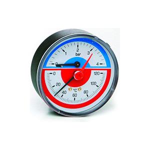 Термоманометр ICMA с запорным клапаном, заднее подключение, диаметр 1/2 атм. 0-10, 259/91259AD10120