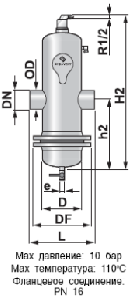 Сепаратор микропузырьков и шлама Spirocombi /разъемный корпус/сварка/ сталь 37, артикул НD050L (Spirovent)