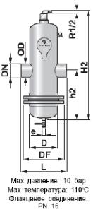 Сепаратор микропузырьков и шлама Spirocombi /разъемный корпус/сварка/ сталь 37, артикул НD065L (Spirovent)