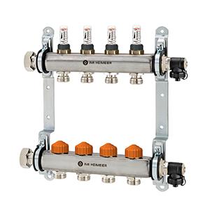 Распределительный коллектор Heimeier Dynacon Eclipse с автоматическим регулированием расхода, расходомерами и термостатическими вентилями, 2 контура, 9340-02.800