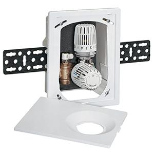Heimeier встраиваемый индивидуальный регулятор температуры с автоматическим ограничителем расхода для напольного отопления Multibox Eclipse K-RTL  с термостатическим клапаном и ограничителем температуры обратного потока, 9317-00.800