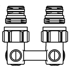"""Multiflex F"" Oventrop ZB-запорно-присоед., угловой 1/2""НР x 3/4""НР, из латуни, никелир. арт. 1015884 (для Arbonia, Zehnder, Dia Norm, Korado, Purmo, КЗТО Радиатор)"
